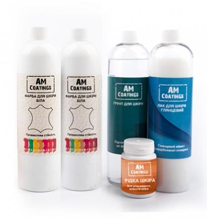 Набор для покраски и реставрации кожи салона авто с глянцевым лаком AM coatings