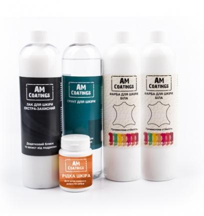 Набор для покраски и реставрации кожи салона авто с экстра-защитным глянцевым лаком AM coatings
