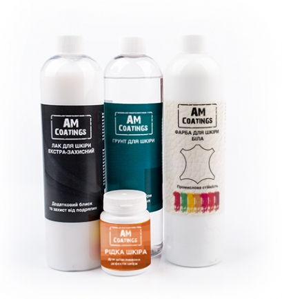 Набор для покраски и реставрации кожаного кресла с экстра-защитным глянцевым лаком AM coatings